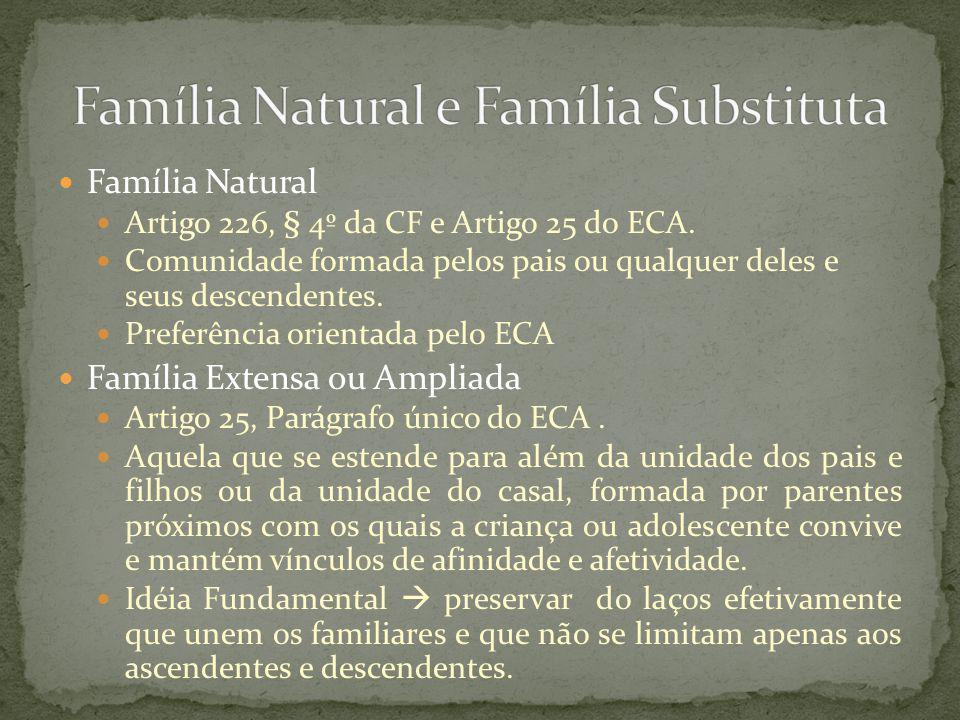 Família Natural Reconhecimento de Filhos Artigo 26 do ECA Lei 8.560/1992 Registro de nascimento Escritura pública ou escrito particular (Cartório) Testamento Manifestação expressa e direta perante o juiz.
