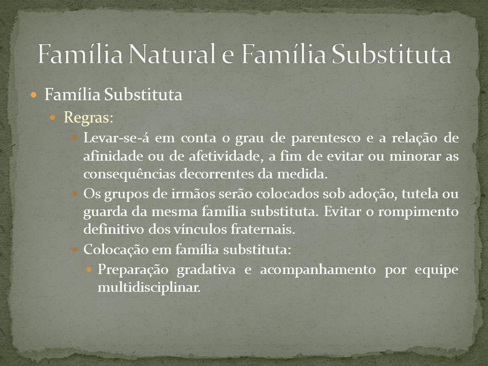 Família Substituta Regras para crianças e adolescentes: Indígenas ou proveniente de Comunidade Quilombola: Artigo 28, § 6º do ECA.