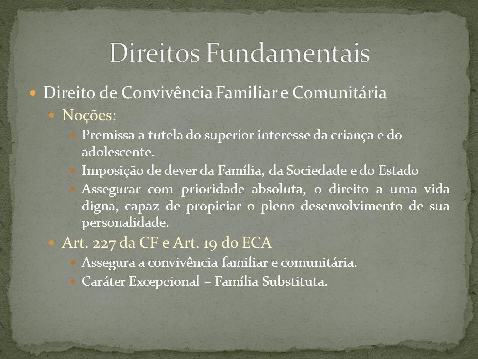 Direito de Convivência Familiar e Comunitária Idéias Gerais traçadas pelo ECA e CF/88 Em regra, toda criança ou adolescente tem direito de ser criado no seio de sua família biológica.