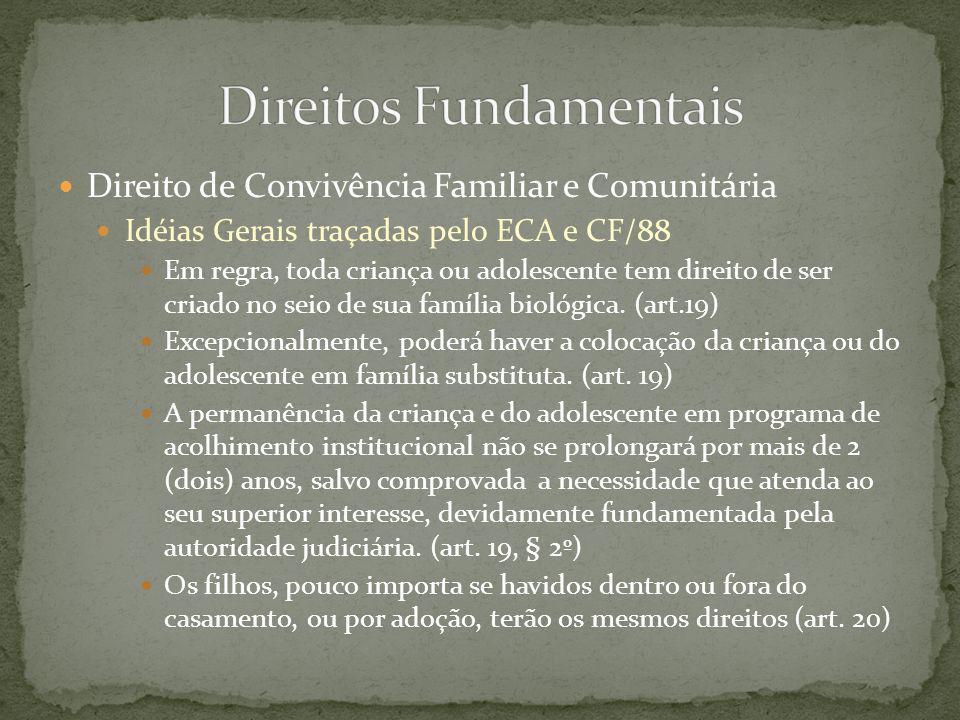 Direito de Convivência Familiar e Comunitária Idéias Gerais traçadas pelo ECA e CF/88 Família natural é conceito expresso no ECA e significa a comunidade formada pelos pais ou qualquer deles e seus descendentes.