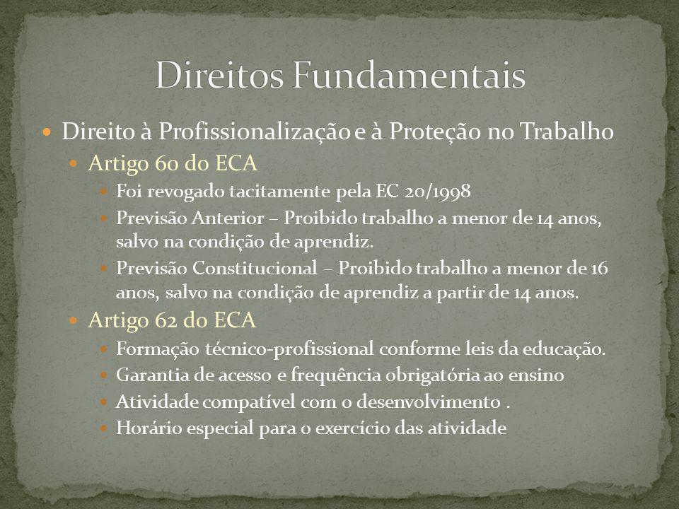 Direito à Profissionalização e à Proteção no Trabalho Artigo 67 do ECA Vedação do Trabalho ao menor: Noturno, entre 22 horas de um dia até 5 horas do dia seguinte.