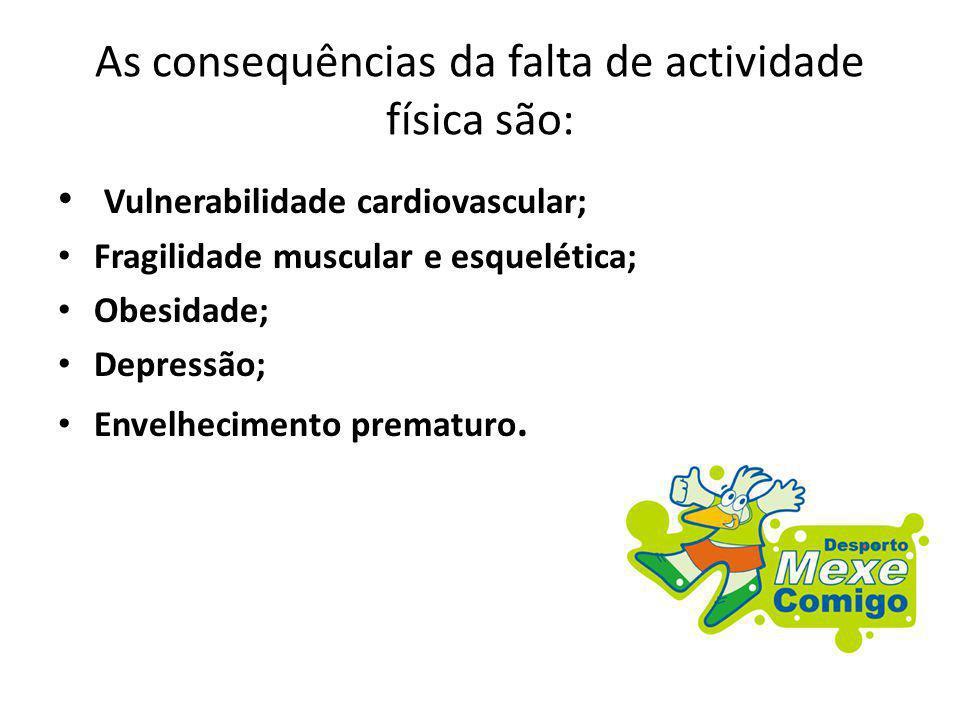 As consequências da falta de actividade física são: Vulnerabilidade cardiovascular; Fragilidade muscular e esquelética; Obesidade; Depressão; Envelhec