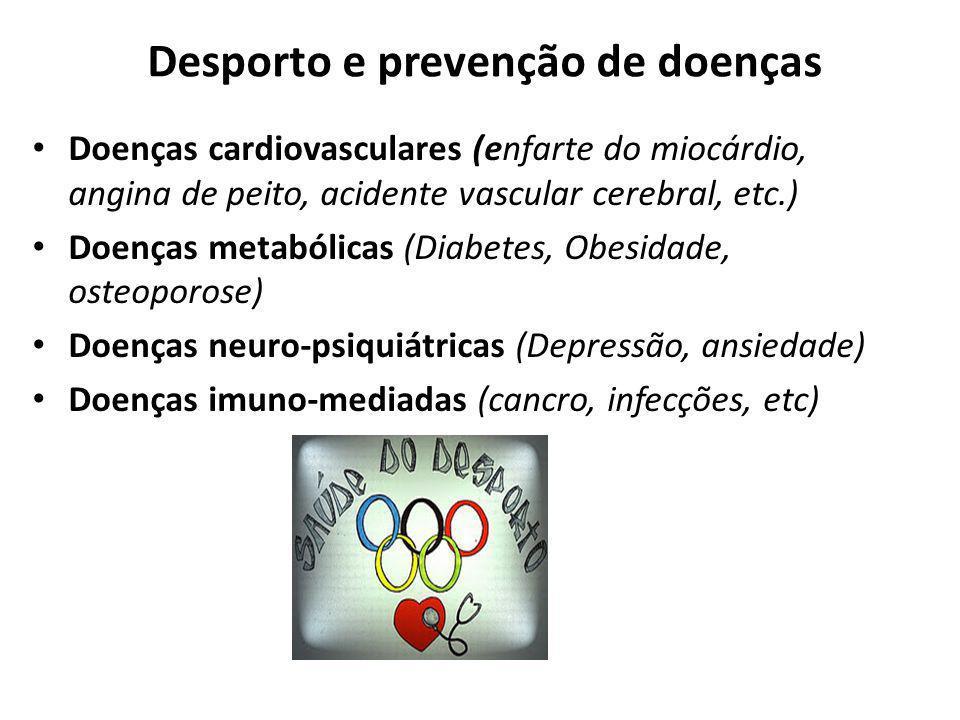 Desporto e prevenção de doenças Doenças cardiovasculares (enfarte do miocárdio, angina de peito, acidente vascular cerebral, etc.) Doenças metabólicas