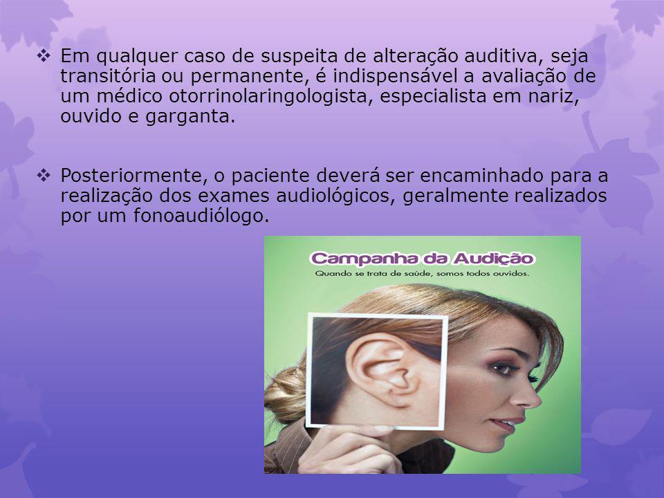 Em qualquer caso de suspeita de alteração auditiva, seja transitória ou permanente, é indispensável a avaliação de um médico otorrinolaringologista, especialista em nariz, ouvido e garganta.