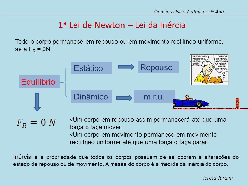 1ª Lei de Newton – Lei da Inércia Ciências Físico-Químicas 9º Ano Teresa Jardim Todo o corpo permanece em repouso ou em movimento rectilíneo uniforme, se a F R = 0N Equilíbrio Estático Dinâmico Repouso m.r.u.