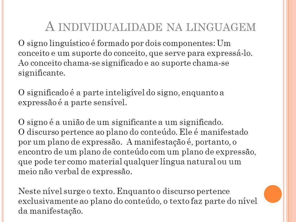 A INDIVIDUALIDADE NA LINGUAGEM O signo linguístico é formado por dois componentes: Um conceito e um suporte do conceito, que serve para expressá-lo.