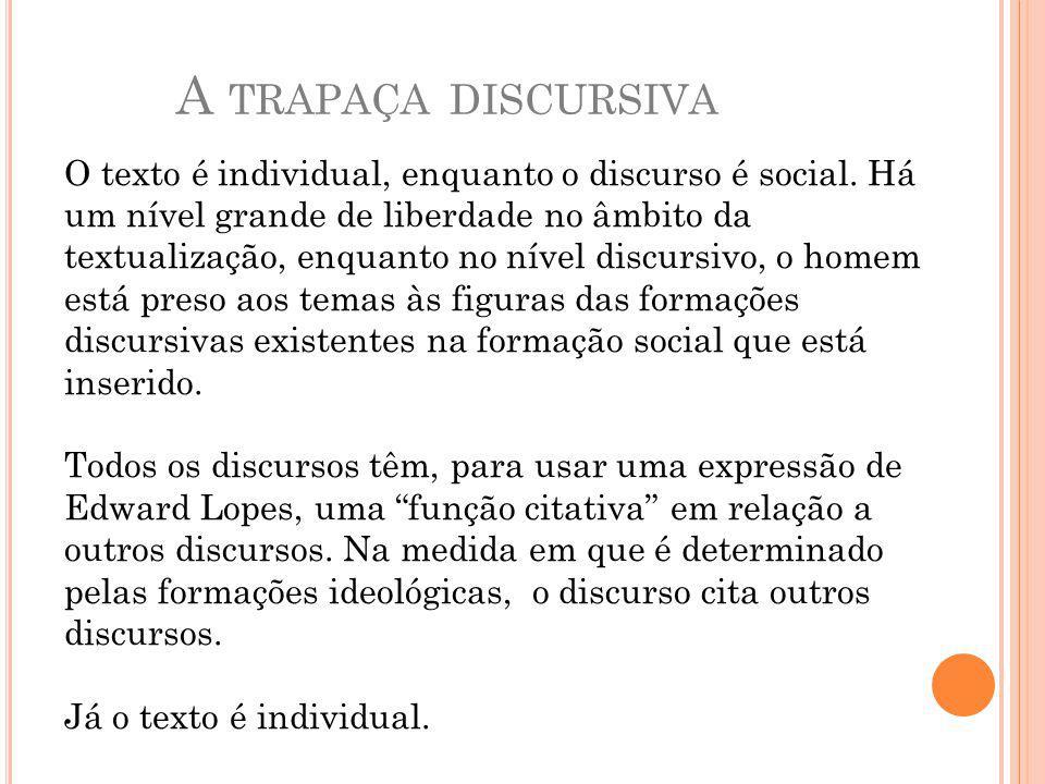 A TRAPAÇA DISCURSIVA O texto é individual, enquanto o discurso é social.