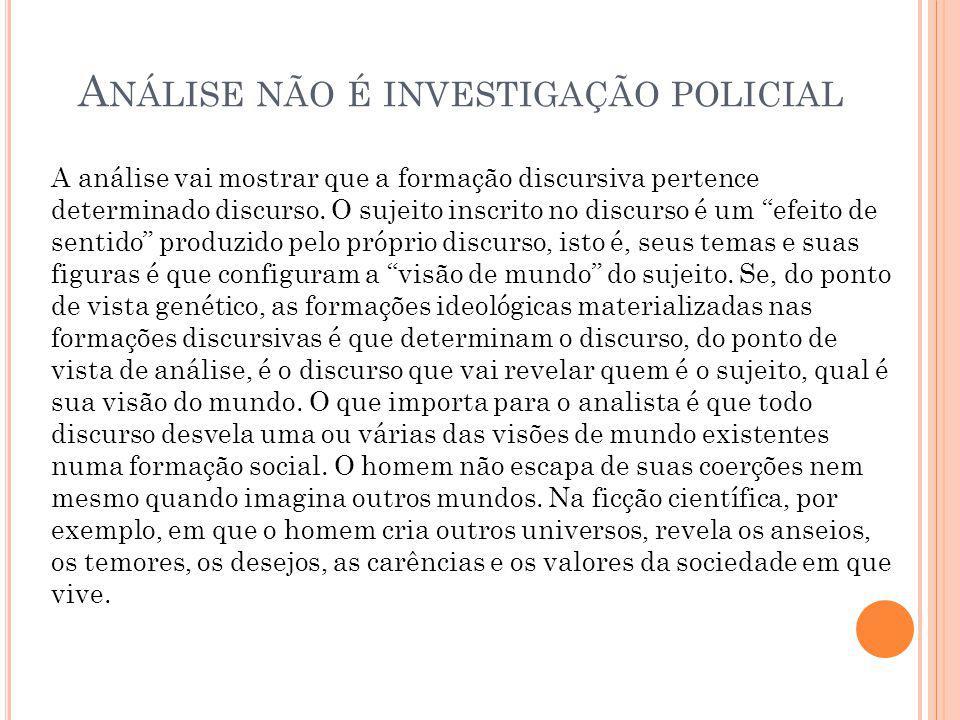 A NÁLISE NÃO É INVESTIGAÇÃO POLICIAL A análise vai mostrar que a formação discursiva pertence determinado discurso.