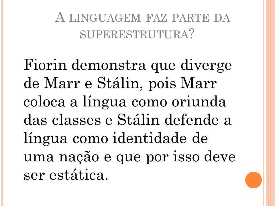 A LINGUAGEM FAZ PARTE DA SUPERESTRUTURA .