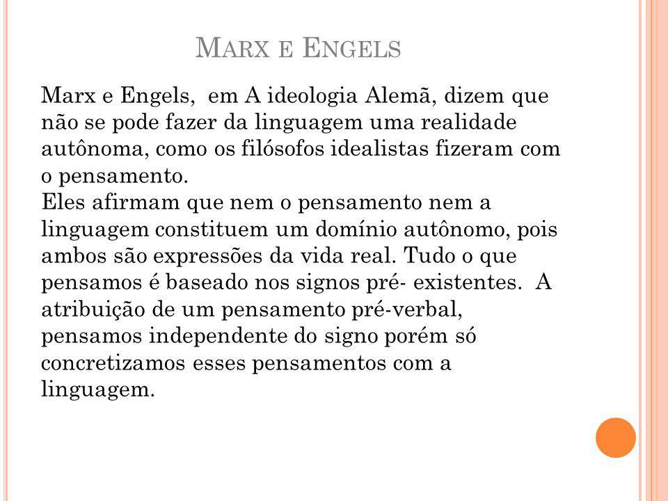 M ARX E E NGELS Marx e Engels, em A ideologia Alemã, dizem que não se pode fazer da linguagem uma realidade autônoma, como os filósofos idealistas fizeram com o pensamento.