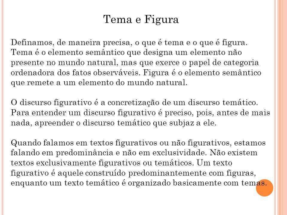 Tema e Figura Definamos, de maneira precisa, o que é tema e o que é figura.