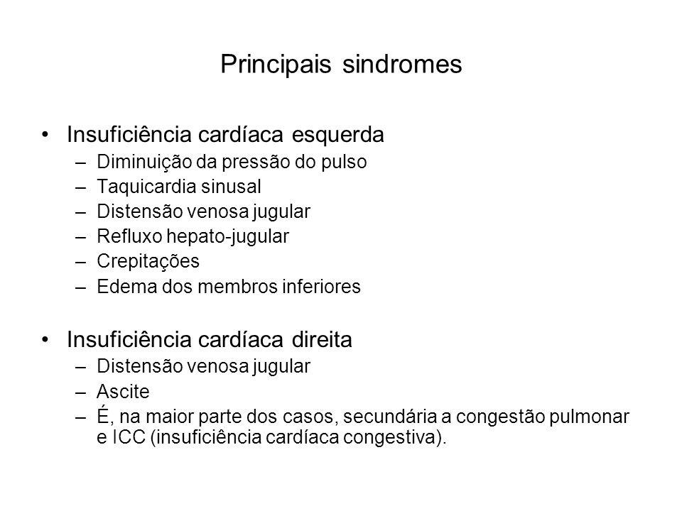 Principais sindromes Insuficiência cardíaca esquerda –Diminuição da pressão do pulso –Taquicardia sinusal –Distensão venosa jugular –Refluxo hepato-ju