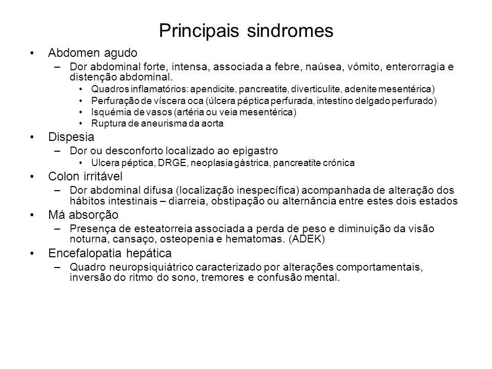 Principais sindromes Abdomen agudo –Dor abdominal forte, intensa, associada a febre, naúsea, vómito, enterorragia e distenção abdominal. Quadros infla