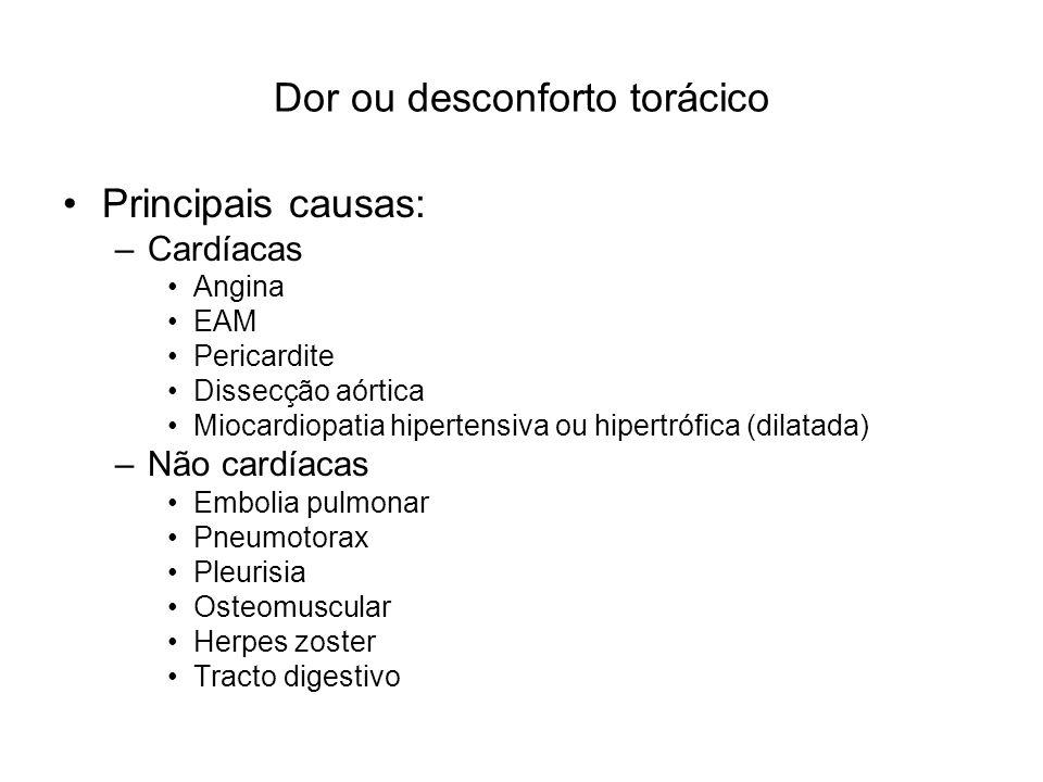 Dor ou desconforto torácico Principais causas: –Cardíacas Angina EAM Pericardite Dissecção aórtica Miocardiopatia hipertensiva ou hipertrófica (dilata