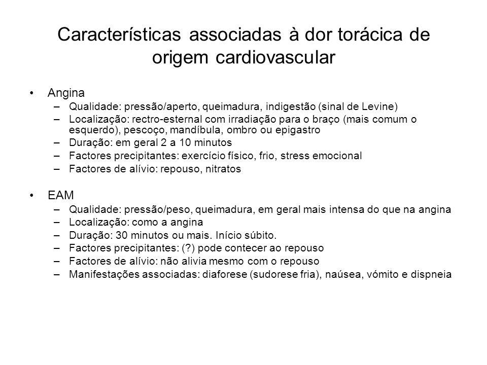 Características associadas à dor torácica de origem cardiovascular Angina –Qualidade: pressão/aperto, queimadura, indigestão (sinal de Levine) –Locali