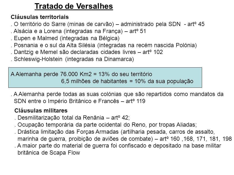 Tratado de Versalhes Cláusulas territoriais. O território do Sarre (minas de carvão) – administrado pela SDN - artº 45. Alsácia e a Lorena (integradas