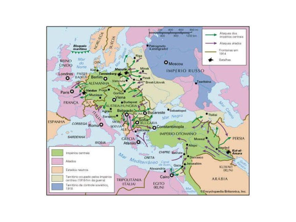 Novos países que se formam com o desmembramento dos Impérios Império Russo Império Áustro-Hungaro Império Otomano Império Alemão.