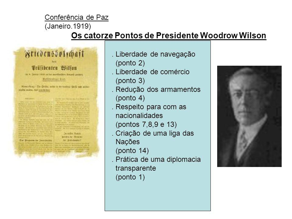 Conferência de Paz (Janeiro.1919) Os catorze Pontos de Presidente Woodrow Wilson. Liberdade de navegação (ponto 2). Liberdade de comércio (ponto 3). R