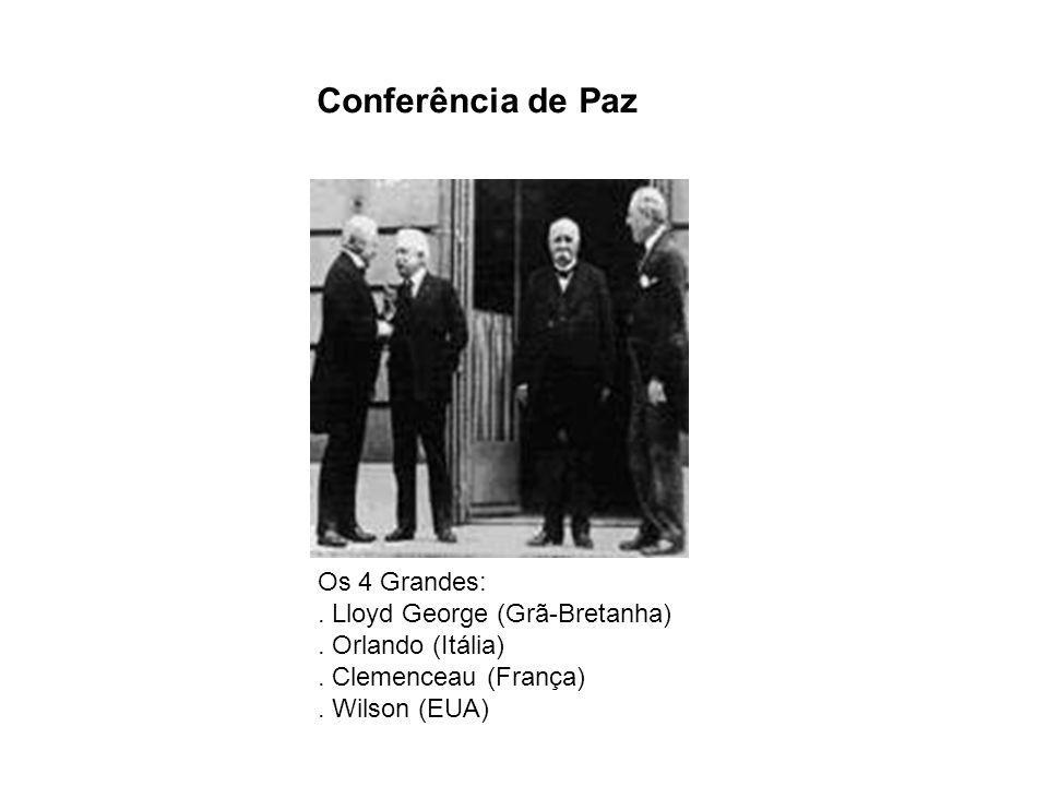 Conferência de Paz Os 4 Grandes:. Lloyd George (Grã-Bretanha). Orlando (Itália). Clemenceau (França). Wilson (EUA)