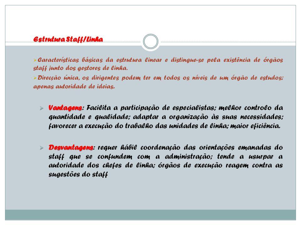 Estrutura Staff/Linha Características básicas da estrutura linear e distingue-se pela existência de órgãos staff junto dos gestores de linha. Direcção