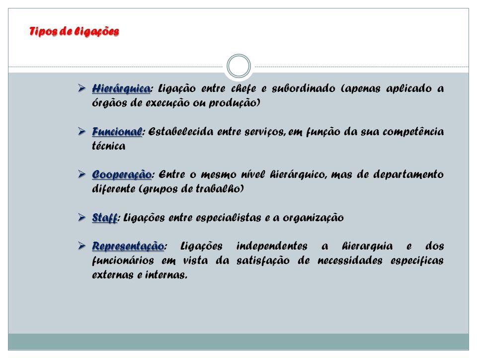 Tipos de ligações Hierárquica Hierárquica: Ligação entre chefe e subordinado (apenas aplicado a órgãos de execução ou produção) Funcional Funcional: E