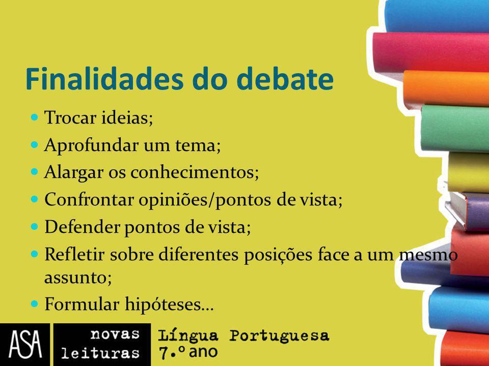 Finalidades do debate Trocar ideias; Aprofundar um tema; Alargar os conhecimentos; Confrontar opiniões/pontos de vista; Defender pontos de vista; Refl