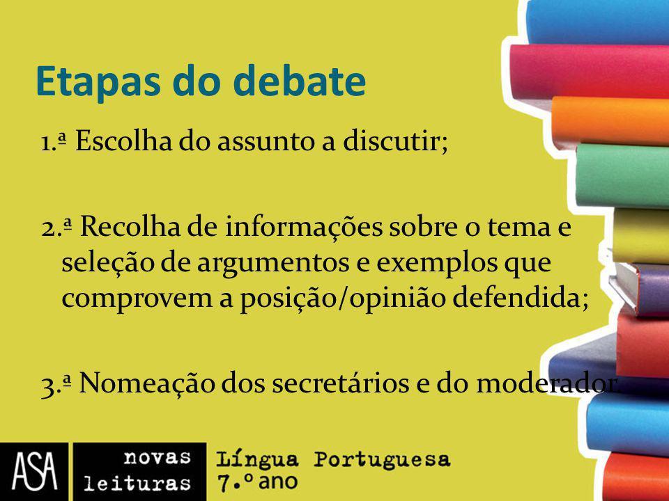 Etapas do debate 1.ª Escolha do assunto a discutir; 2.ª Recolha de informações sobre o tema e seleção de argumentos e exemplos que comprovem a posição