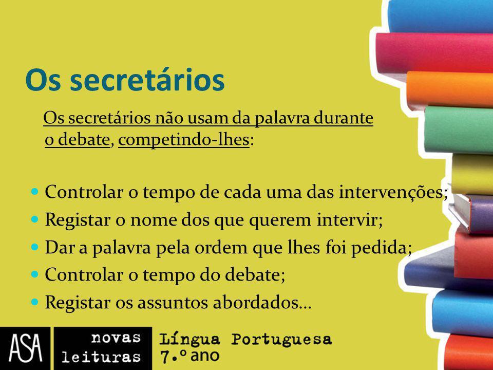 Os secretários Os secretários não usam da palavra durante o debate, competindo-lhes: Controlar o tempo de cada uma das intervenções; Registar o nome d