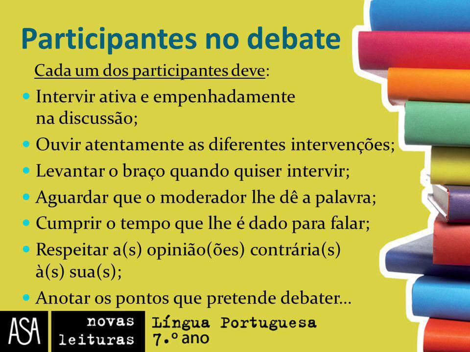Participantes no debate Cada um dos participantes deve: Intervir ativa e empenhadamente na discussão; Ouvir atentamente as diferentes intervenções; Le