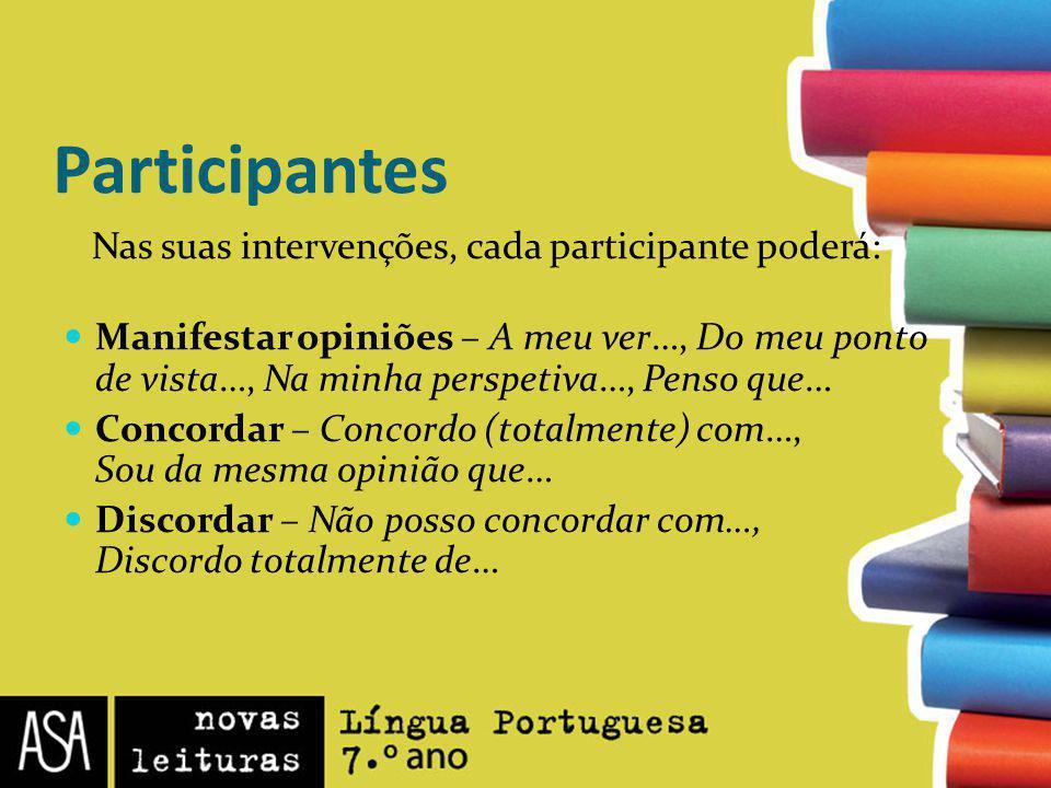 Participantes Nas suas intervenções, cada participante poderá: Manifestar opiniões – A meu ver…, Do meu ponto de vista…, Na minha perspetiva…, Penso q
