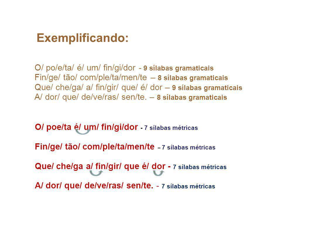 Exemplificando: O/ po/e/ta/ é/ um/ fin/gi/dor - 9 sílabas gramaticais Fin/ge/ tão/ com/ple/ta/men/te – 8 sílabas gramaticais Que/ che/ga/ a/ fin/gir/