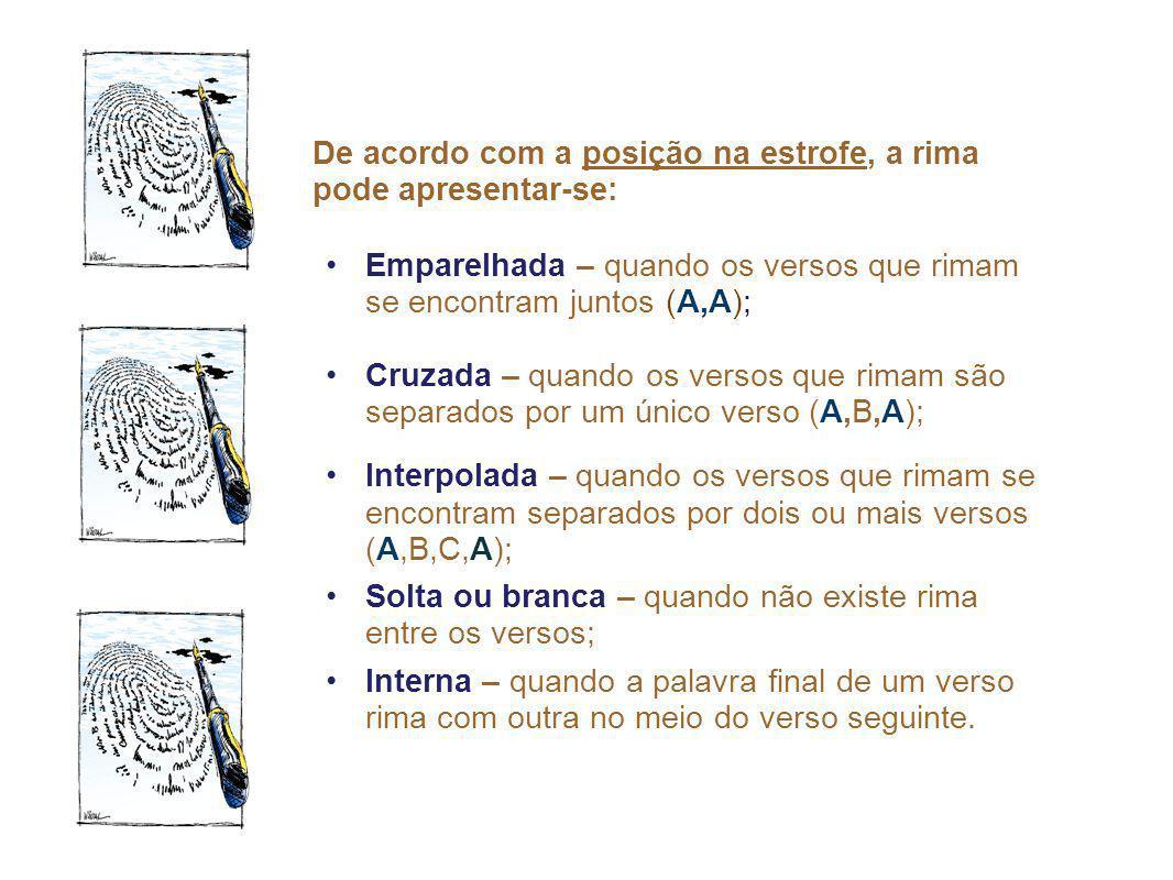 De acordo com a posição na estrofe, a rima pode apresentar-se: Emparelhada – quando os versos que rimam se encontram juntos (A,A); Cruzada – quando os