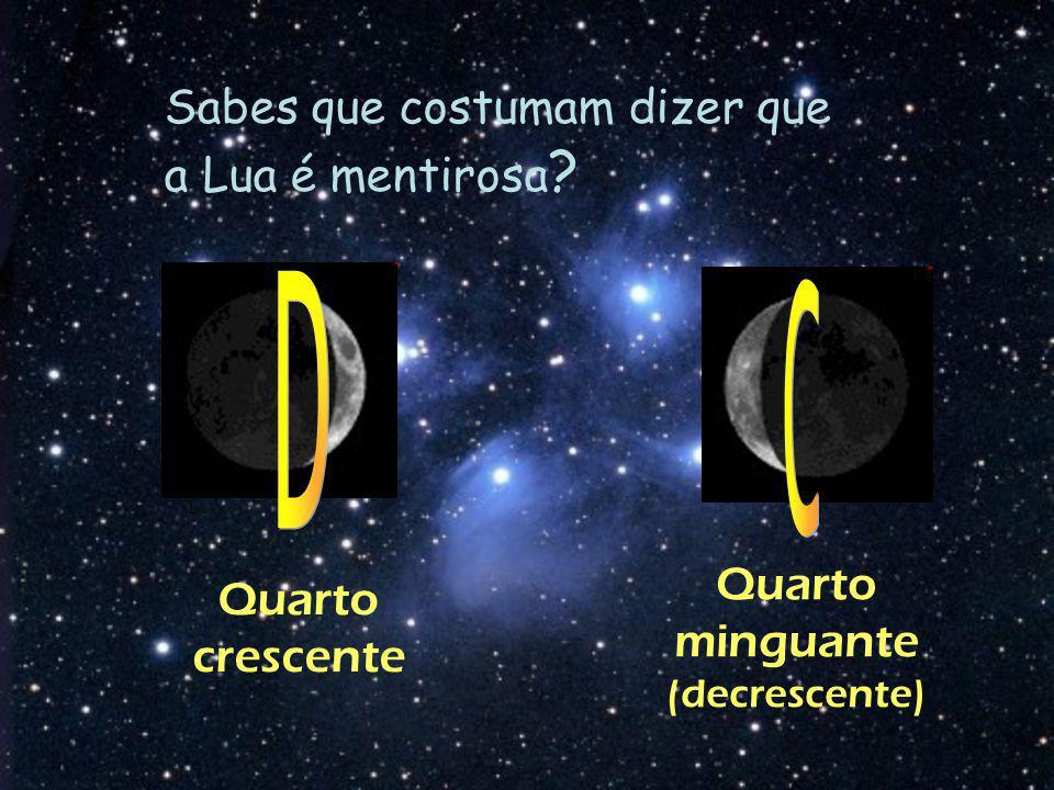 Sabes que costumam dizer que a Lua é mentirosa ? Quarto minguante (decrescente) Quarto crescente