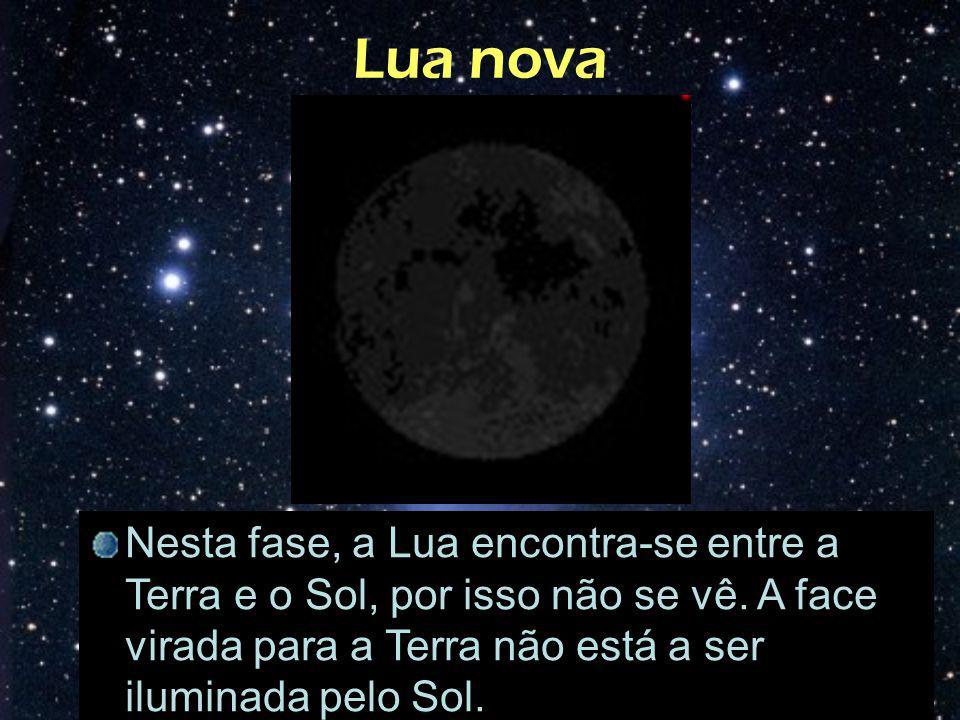 Lua nova Nesta fase, a Lua encontra-se entre a Terra e o Sol, por isso não se vê. A face virada para a Terra não está a ser iluminada pelo Sol.