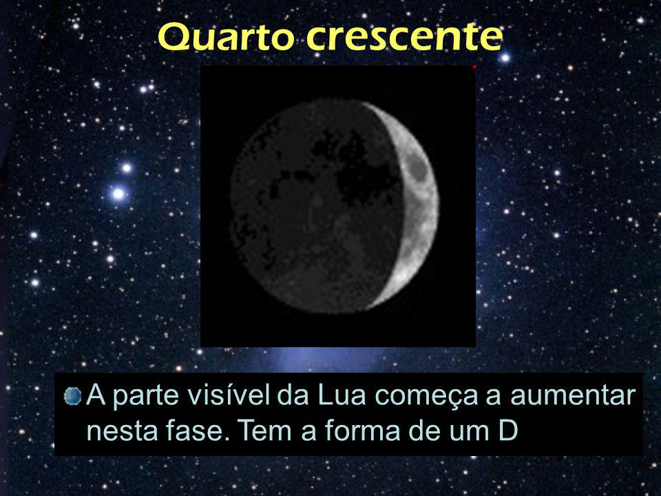 Quarto crescente A parte visível da Lua começa a aumentar nesta fase. Tem a forma de um D