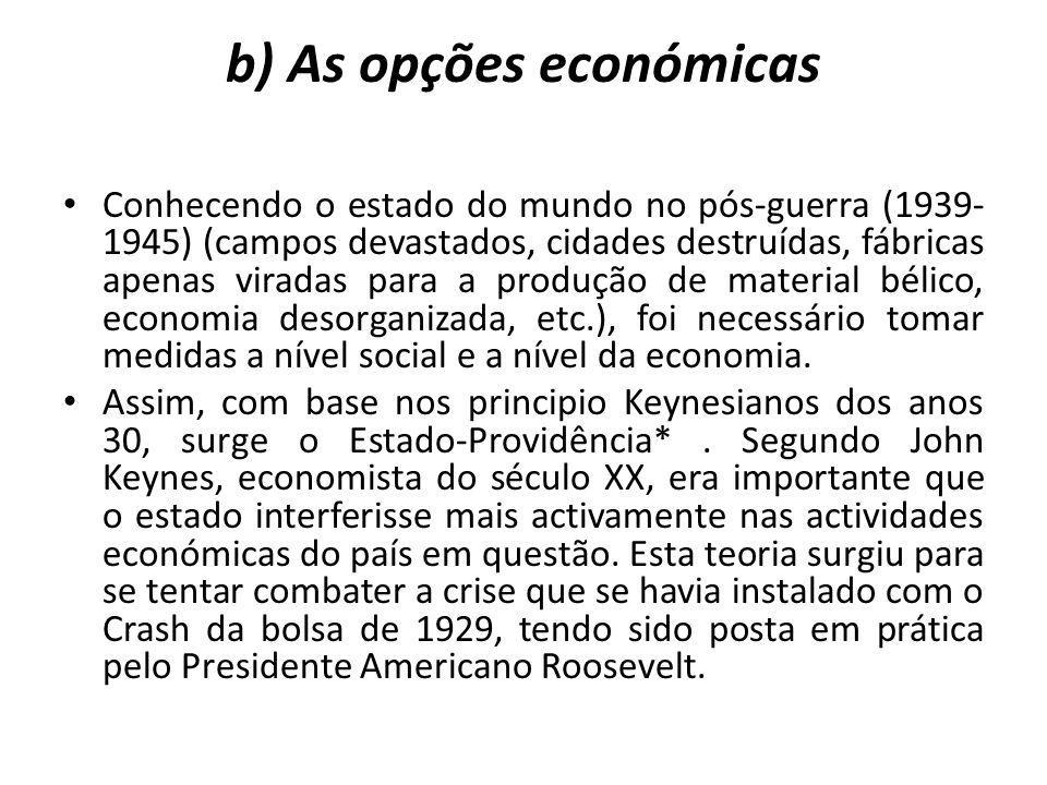 b) As opções económicas Conhecendo o estado do mundo no pós-guerra (1939- 1945) (campos devastados, cidades destruídas, fábricas apenas viradas para a