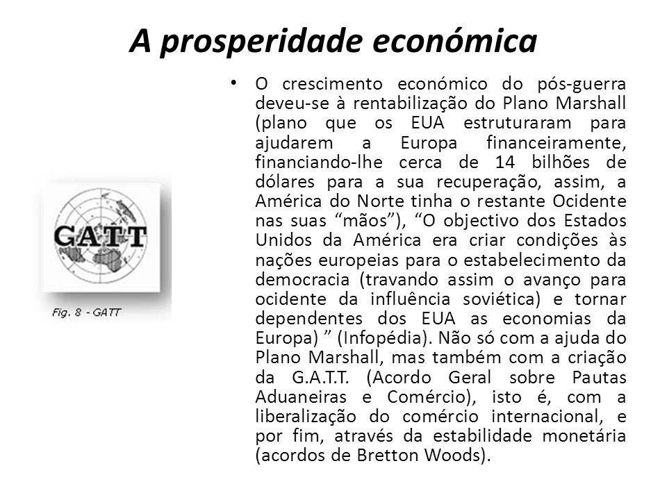 A prosperidade económica O crescimento económico do pós-guerra deveu-se à rentabilização do Plano Marshall (plano que os EUA estruturaram para ajudare