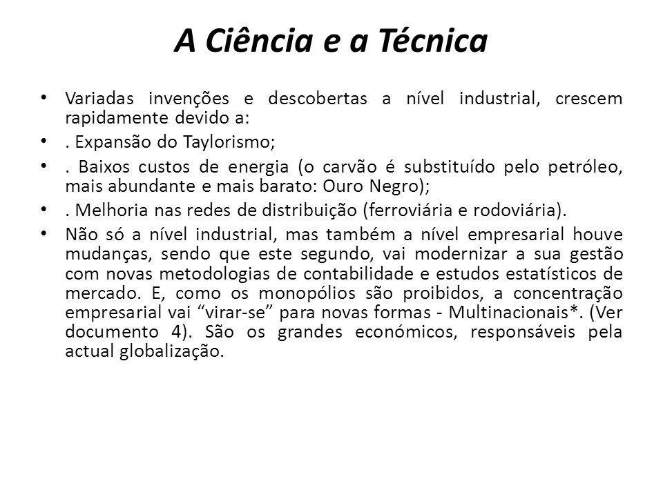 A Ciência e a Técnica Variadas invenções e descobertas a nível industrial, crescem rapidamente devido a:. Expansão do Taylorismo;. Baixos custos de en