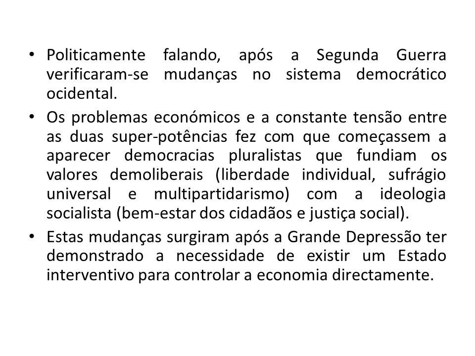 Politicamente falando, após a Segunda Guerra verificaram-se mudanças no sistema democrático ocidental. Os problemas económicos e a constante tensão en