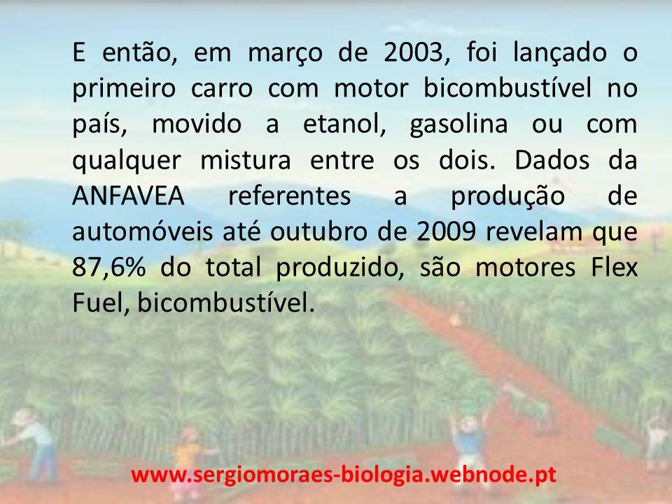 E então, em março de 2003, foi lançado o primeiro carro com motor bicombustível no país, movido a etanol, gasolina ou com qualquer mistura entre os do