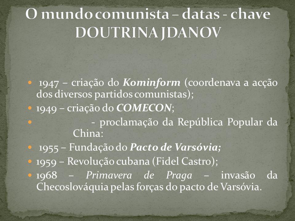 1947 – criação do Kominform (coordenava a acção dos diversos partidos comunistas); 1949 – criação do COMECON; - proclamação da República Popular da Ch