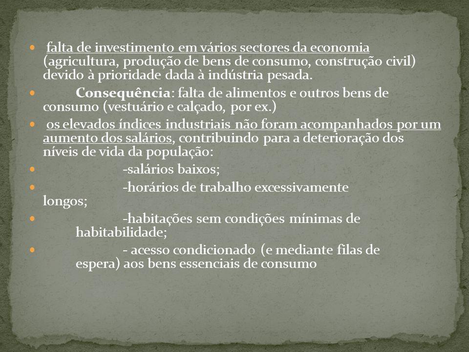 falta de investimento em vários sectores da economia (agricultura, produção de bens de consumo, construção civil) devido à prioridade dada à indústria