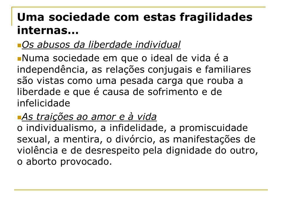 Uma sociedade com estas fragilidades internas… Os abusos da liberdade individual Numa sociedade em que o ideal de vida é a independência, as relações