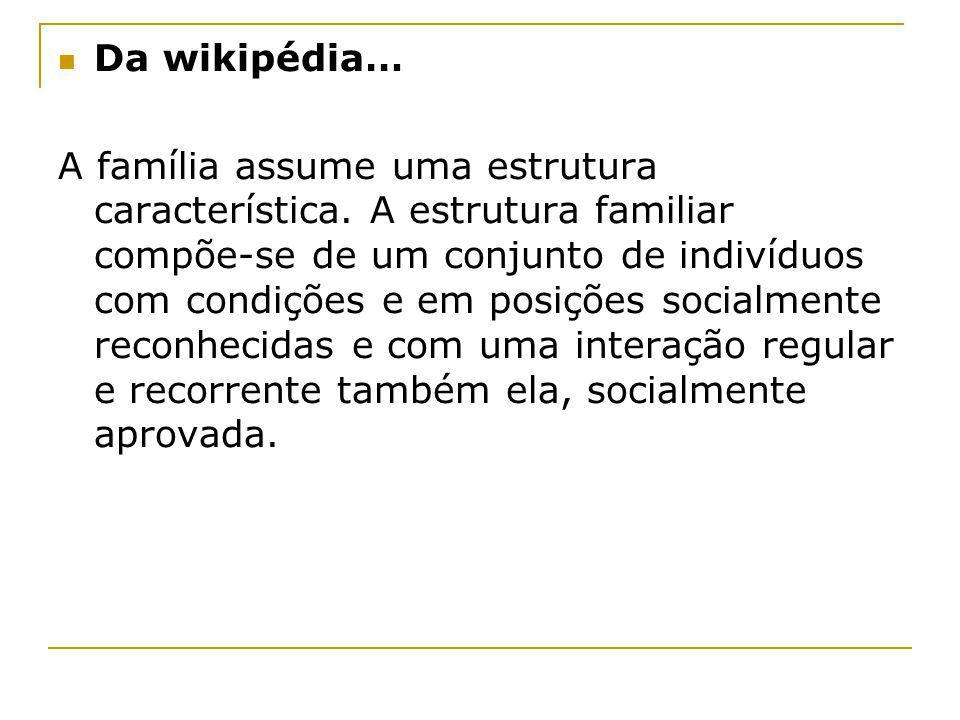 Da wikipédia… A família assume uma estrutura característica. A estrutura familiar compõe-se de um conjunto de indivíduos com condições e em posições s
