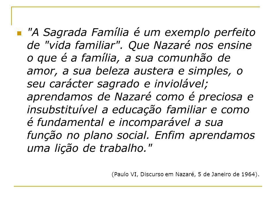 A Sagrada Família é um exemplo perfeito de vida familiar .