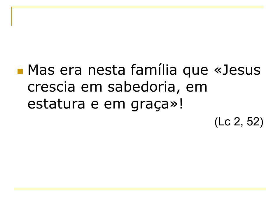 Mas era nesta família que «Jesus crescia em sabedoria, em estatura e em graça»! (Lc 2, 52)