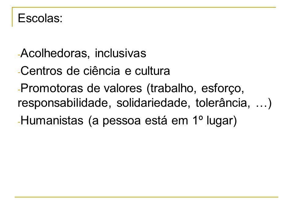 Escolas: - Acolhedoras, inclusivas - Centros de ciência e cultura - Promotoras de valores (trabalho, esforço, responsabilidade, solidariedade, tolerân