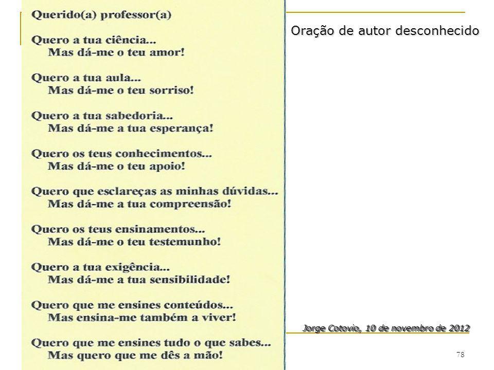 78 Jorge Cotovio, 10 de novembro de 2012 Jorge Cotovio, 10 de novembro de 2012 Oração de autor desconhecido