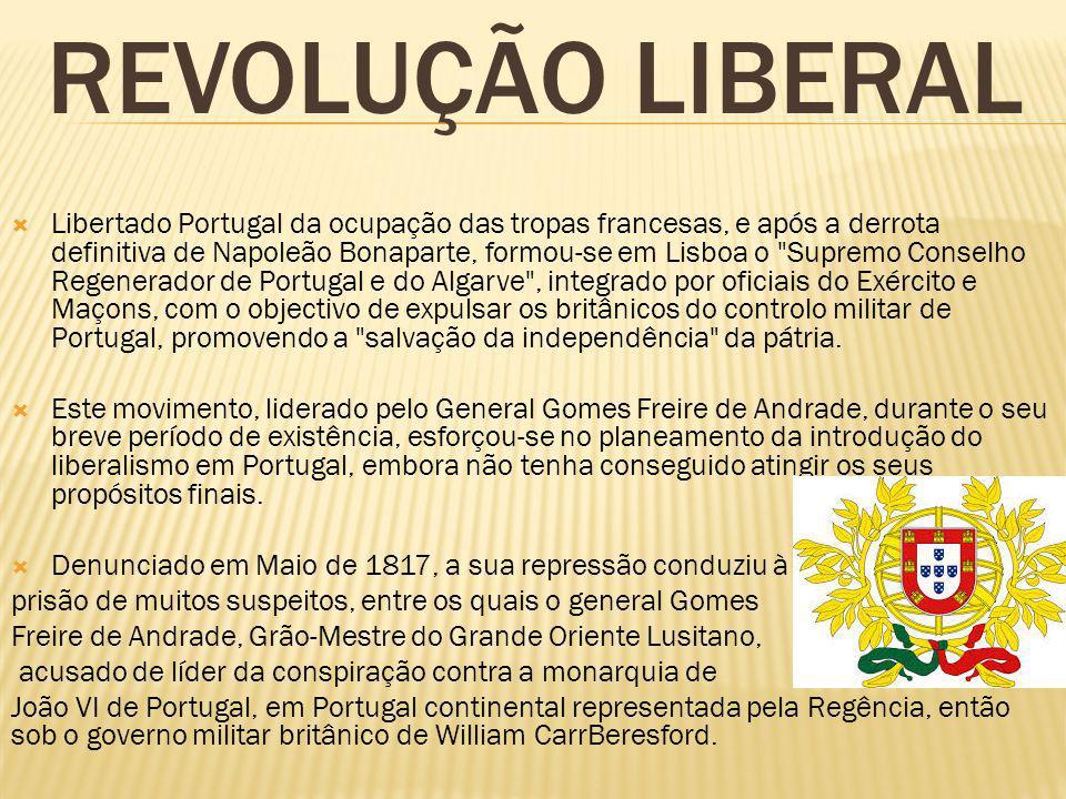 REVOLUÇÃO LIBERAL Libertado Portugal da ocupação das tropas francesas, e após a derrota definitiva de Napoleão Bonaparte, formou-se em Lisboa o