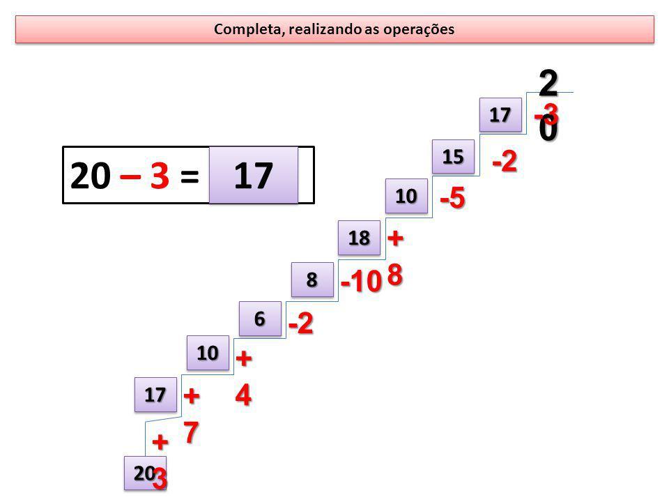 Completa, realizando as operações 20202020-3 1717 2020 1717 1010 66 88 1818 1010 1515 +7+7+7+7 +4+4+4+4 -2 -10 +8+8+8+8 -5 -2 +3+3+3+3 20 – 3 = 17